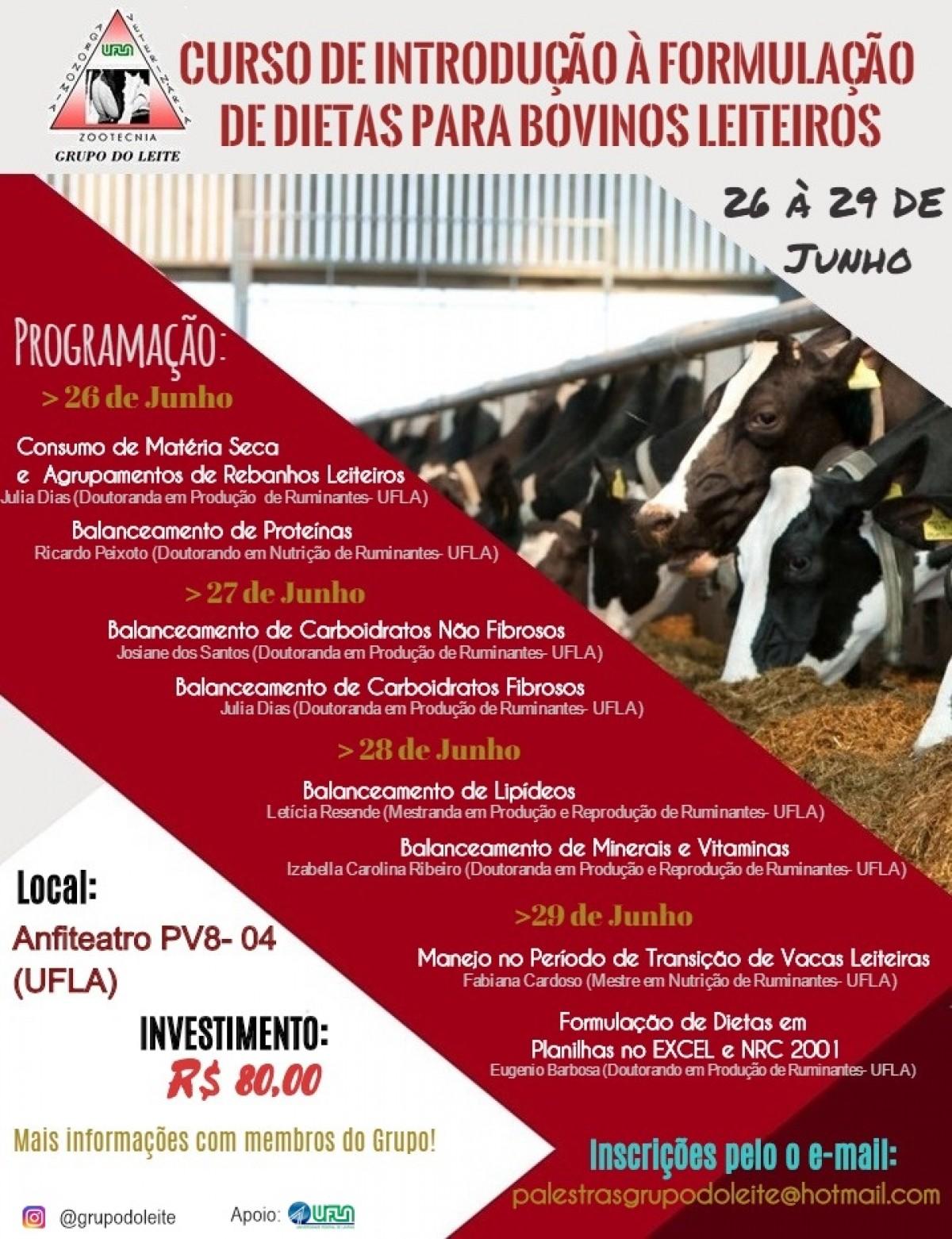 Curso de introdução à formulação de dietas para bovinos leiteiros